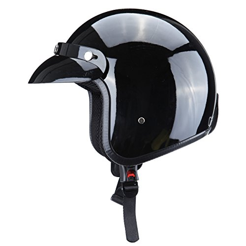 Ambienceo Gloss Black DOT Approved Adult Motorcycle Safety 34 Open Face Crash Helmet for Scooter Cruiser X-large