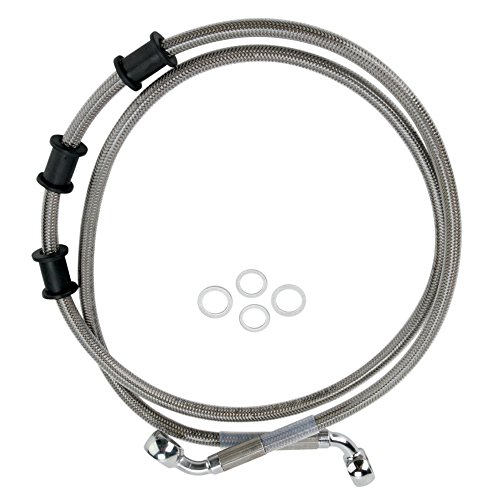 Hill Country Customs Front Stainless Braided Stock Length Brake Line for 2008-2015 Harley Softail Deluxe 2012-2015 Slim Fatboy Fatboy Low - HC-401370