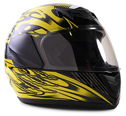 Youth Kids Full Face Helmet with Shield Motorcycle Street MX Dirtbike ATV -- Yellow  XL