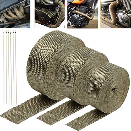 Firwood Exhaust Heat Shield Wrap Roll Basalt Fibre for Motorcycle Vehicle Boats Heat Proof Tape with Stainless Ties---Titanium 2 inch x 165 ft