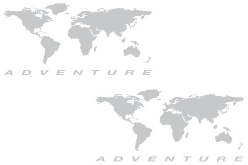The Pixel Hut gs000038b Adventure Motorcycle Decal Kit World Adventure Map for Touratech Panniers - Silver