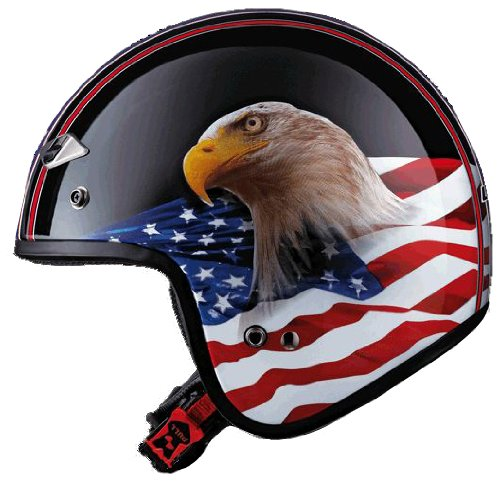 LS2 Helmets OF567 Open Face Motorcycle Helmet with Eagle Graphic Gloss Black Large
