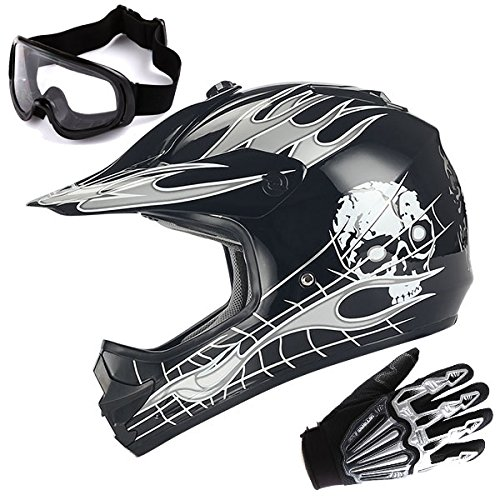 Youth Motocross Helmet MX BMX ATV Bike Kids White Skull Black Helmet  Goggle  Skeleton Glove