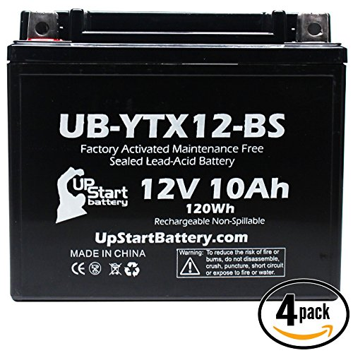 4-Pack Replacement 2010 Kymco People 250 250 CC Factory Activated Maintenance Free Scooter Battery - 12V 10Ah UB-YTX12-BS