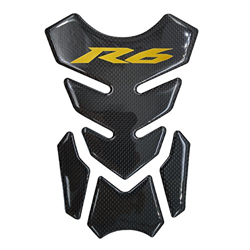 Real Carbon Fiber 3D Sticker Vinyl Decal Emblem Protection Gas Tank Pad For Yamaha YZF R6