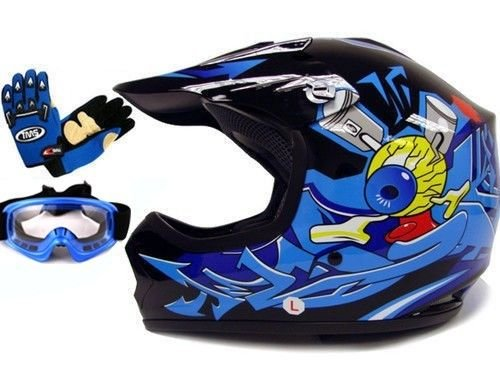 TMS Youth Kids BlackBlue Punk Dirt Bike Atv Motocross Helmet Mxgogglesgloves Medium