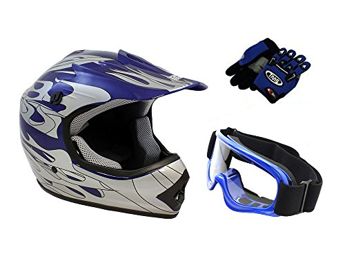TMS Youth Kids Blue Flame ATV Dirt Bike Motocross Helmet with Goggles and Gloves Large