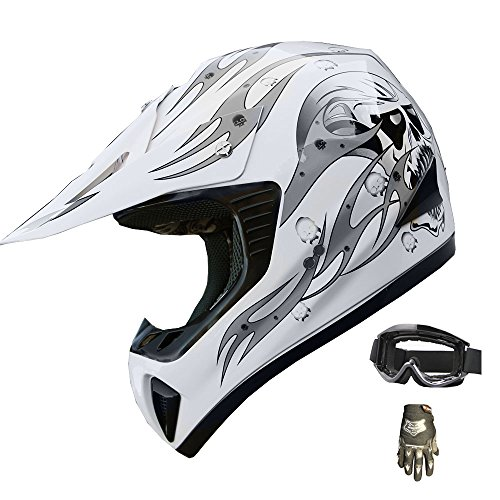 ATV Motocross Helmet Dirt Bike Motorcycle A81 WhiteSilver glovesgoggles L