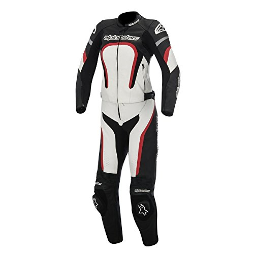 Alpinestars Motegi Womens 2-Piece Street Motorcycle Race Suits - BlackWhiteRed  42