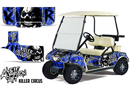 Savage Kits Vinyl Graphic Decal Kit for Club Car Precedent Golf Cart 2004-2013 - Killer Circus Blue