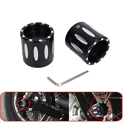 E-Most Pair of Black CNC Deep Cut Front Axle Cap Nut Cover For Harley Touring Road King FLHT 2008-2017