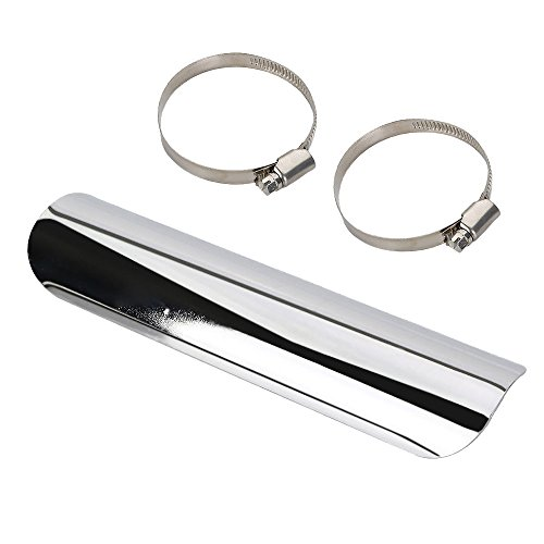Universal Motorcycle Exhaust Muffler Pipe Heat Shield Cover Heel Guard For Honda Yamaha Suzuki Kawasaki Harley Davidson(Chrome)