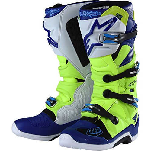 Troy Lee Designs Tech 7 TLD Alpinestars Mens Off-Road Boots - Yellow FluoBlueWhite  8
