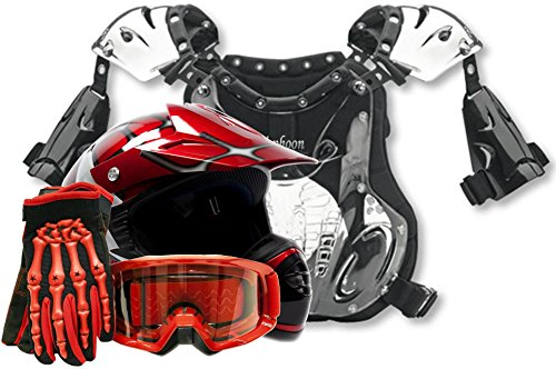 Youth Peewee Offroad Gear Combo Helmet Gloves Goggles Chest Protector Motocross Atv Dirt Bike Red Spiderman - Xl