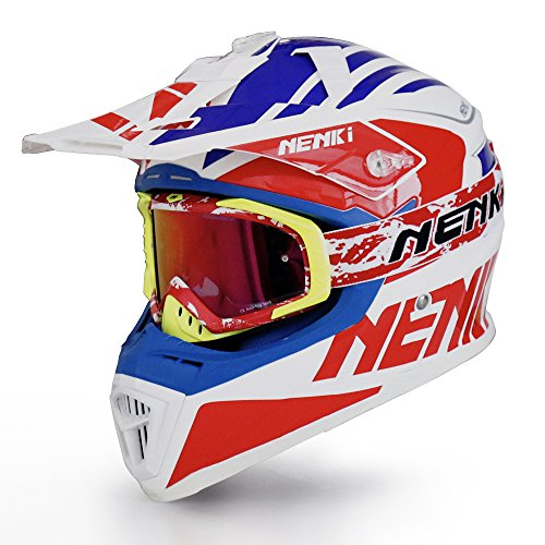 NENKI Helmets NK-316 Motocross Helmets Combo Dot Approved with NK-1023 Motocross Goggle L Blue Red