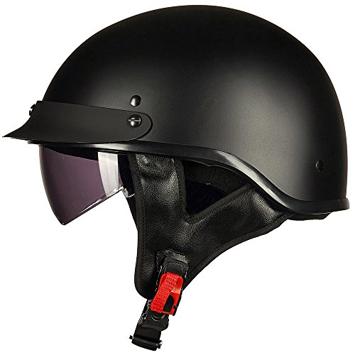 ILM Motorcycle Half Helmet With Integrated Sun Visor Quick Release Buckle DOT Approved L MATT BLACK