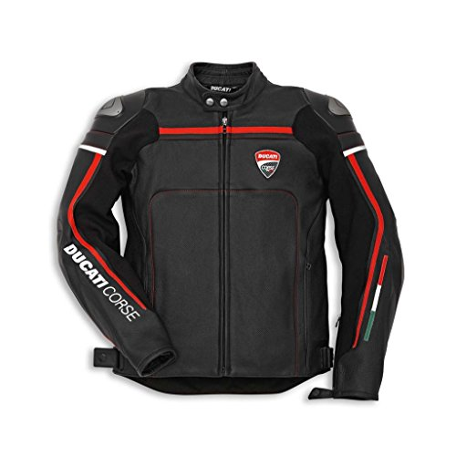 Ducati 981021752 Corse Perforated Leather Riding Jacket - Black - Size 52