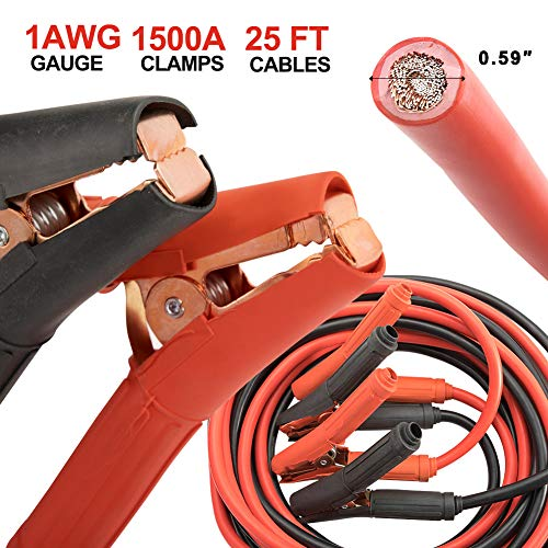 BUNKER INDUST 1500A Booster Jumper Cables 1 Gauge 25Ft Heavy Duty Battery Cables Car Battery Jump Starter Emergency Kit with Carry Bag for Car Truck SUV- Allow to Boost Battery from Behind a Vehicle