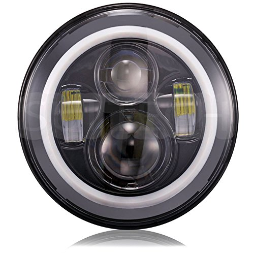 "Signswise 7"" Round Led Projection Daymaker Headlight For Harley Davidson Motorcycles Jeep Hummer Land Rover Black"