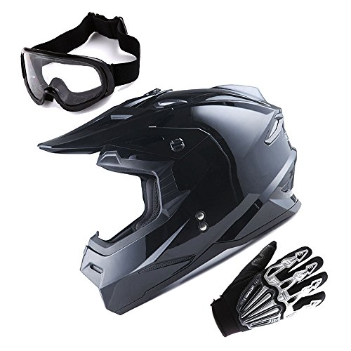 1Storm Adult Motocross Helmet BMX MX ATV Dirt Bike Helmet Racing Style Glossy Black  Goggles  Skeleton Black Glove Bundle
