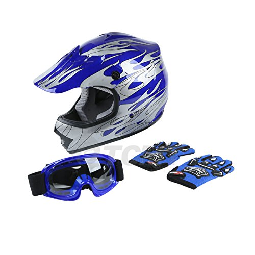 TCMT DOT Youth Blue Flame Dirt Bike ATV MX Motocross Helmet Gogglesgloves L