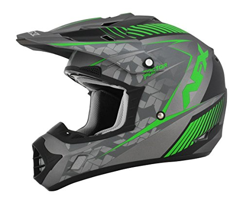 AFX FX-17 Factor Mens Motocross Helmets - GrayGreen - Large