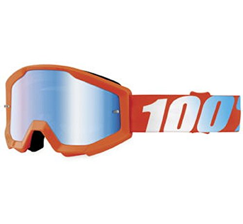 Orange Cycle Parts Strata Junior  Youth MX Motocross Goggles by 100 Orange Blue Lens