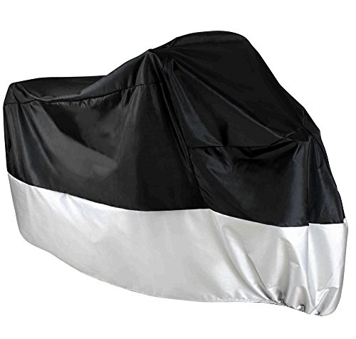 Waterproof Motorcycle Cover XL Fits Up to 945 Honda Yamaha Suzuki Harly Kawasaki Motorcycle and ATV Road Dirt Bikes All Season Dustproof Black and Silver Protective Cover