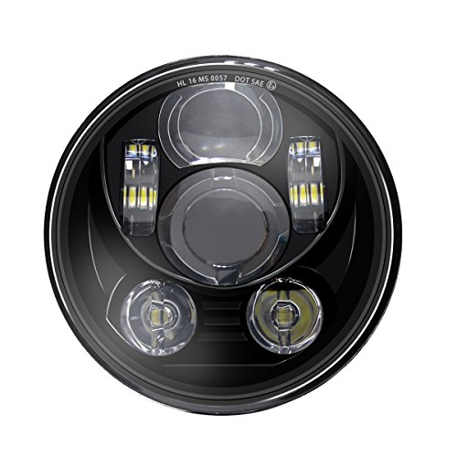Wisamic 5-34 575 LED Projection Daymaker Headlight for Harley-Davidson Motorcycles 9 pcs Bulb-Black