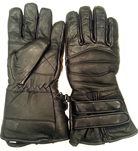 Best Nekid Cow Brand Black Leather Motorcycle Waterproof Cold Weather Year Round Insulated Gauntlets Guaranteed