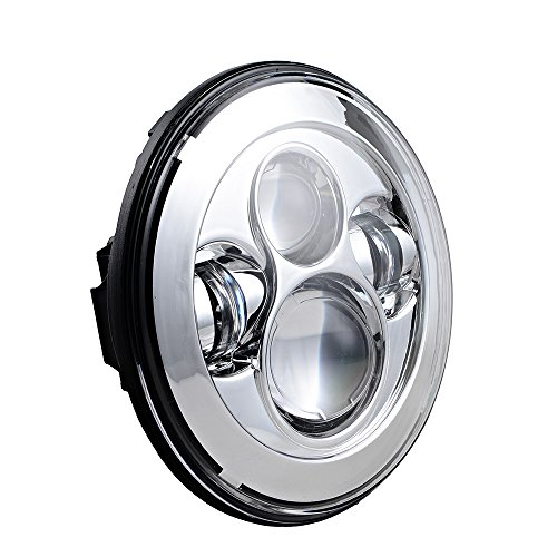 Astra Depot 7 LED Headlight For Harley Davidson MOTORCYCLE CHROME PROJECTOR DAYMAKER LIGHT