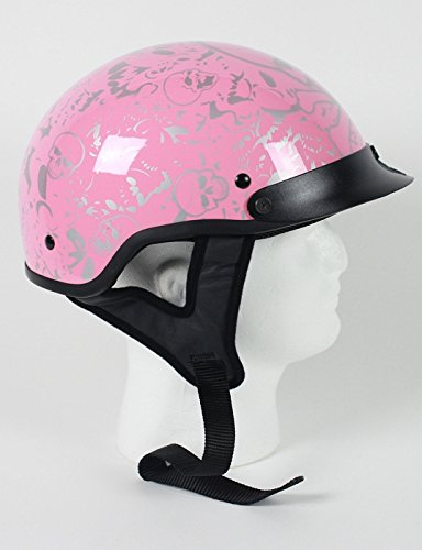 DOT Womens Pink Boneyard Vented Motorcycle Half Helmet Size M MD Medium