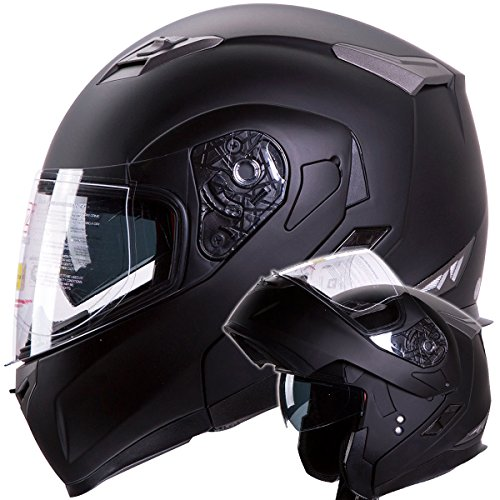 Motorcycle  Snowmobile Matte Black Dual Visor Modular Helmet DOT Size Large