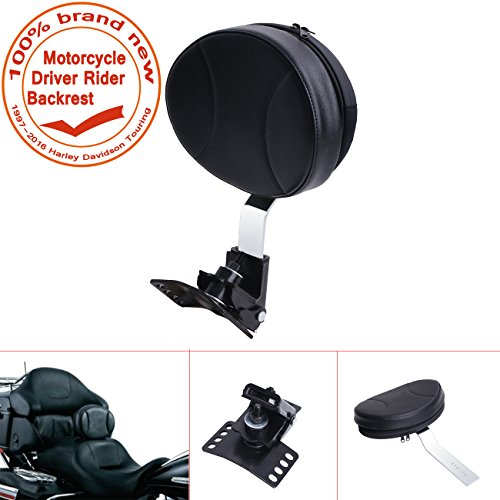 E-most Black Detachable Adjustable Driver Rider Backrest Custom Made For 1997-2016 Harley Davidson Touring Models