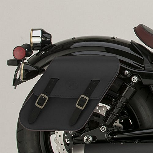Yamaha Bolt SCR950 Cruiser Rigid Mount Black Leather Saddlebags Side Bags