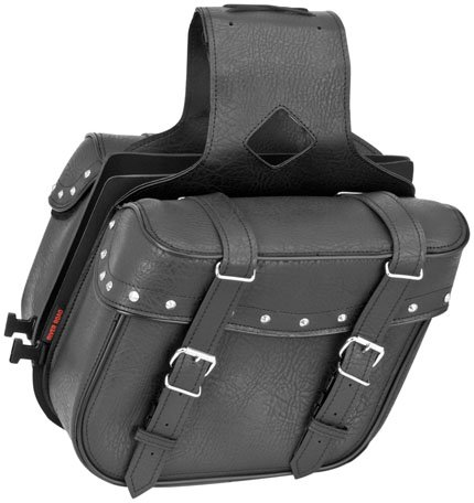 River Road Quick Release Slant Compact Saddlebags Studded Black