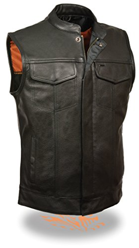 Men's Soa Leather Vest W/ Dual Side Conceal Weapon Gun Pockets & 1 Panel Back Perfect For Club Patches (large)