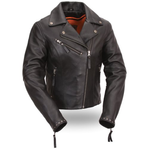 First Manufacturing Womens Riveted Classic Motorcycle Jacket Black Medium