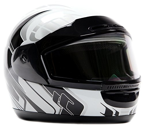 Snowmobile Helmet Adult Full Face Dual Lens Anti Fog White, Medium