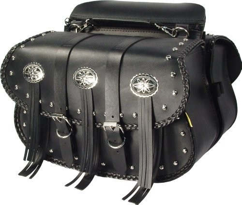 Willie Max By Dowco - Warrior Series - Straight Touring Motorcycle Saddlebag Set - Lifetime Limited Warranty - UV Protection - Maintenance Free Synthetic Leather - Universal - Up To 10L Each20L Total Capacity  58320-00