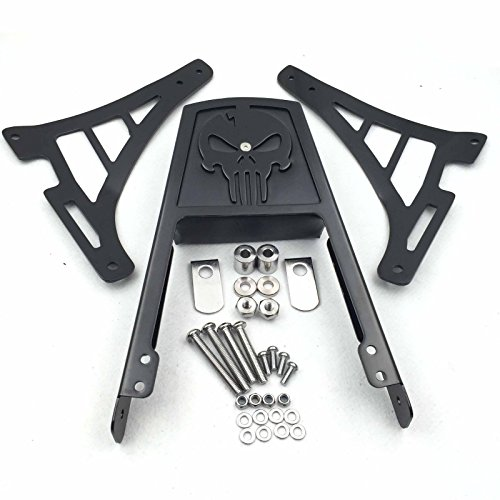 Htt Group Motorcycle Black Skull Style Backrest Sissy Bar With Leather Pad For Harley Davidson Sportster Xl883c