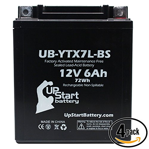 4-Pack Replacement 1997 Kawasaki EX250 Ninja 250CC Factory Activated Maintenance Free Motorcycle Battery - 12V 6Ah UB-YTX7L-BS