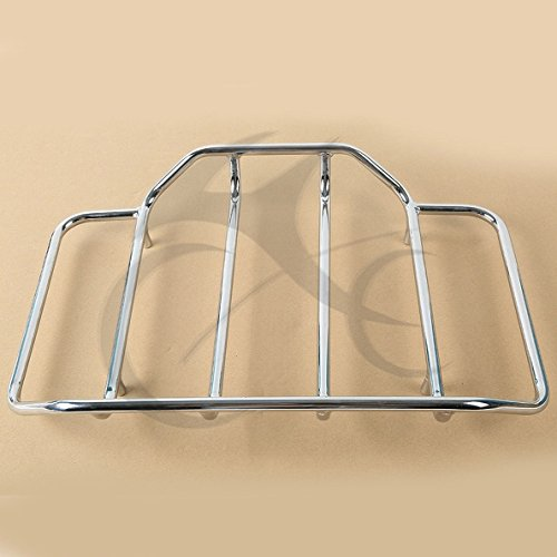 TCMT Motorcycles Chrome Luggage Rack Rail Tour Pak Carrier Trunk Top for Harley Road King Glide Touring
