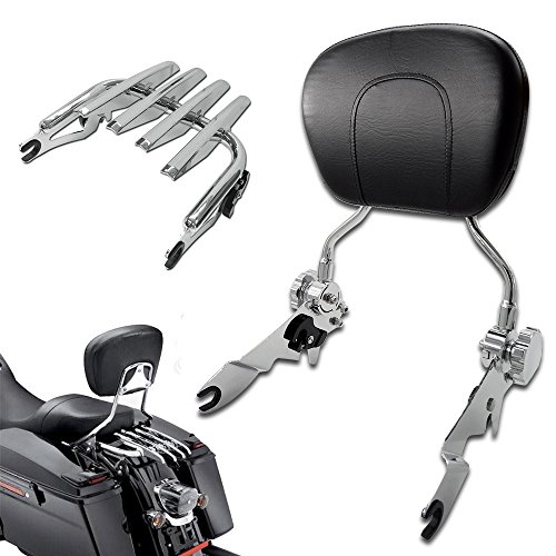 Tjmoto New Adjustable Detachable Chrome Backrest Sissy Bar Stealth Luggage Rack For Harley Davidson Touring 2009