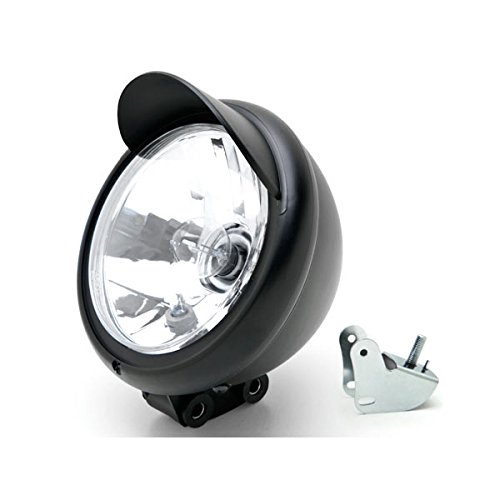 Krator Universal Motorcycle Headlight Lamp Light Black Custom Cruiser Touring Chopper for any Harley Honda Yamaha Suzuki Kawasaki Custom Bike Cruiser Choppers