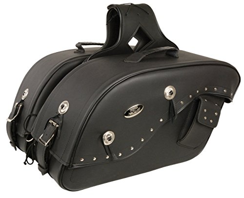 Cruiser Style Studded Throw Over Saddlebag w Gun Holster Fits Most All Harley Davidson Bikes - See Picture For How To Size Details