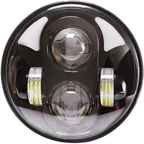 """Aukmak 5-34"""" 575"""" LED Daymaker Headlight Projector with Angel Eyes for Harley Davidson Motorcycle HiLo Beam 45W  Black"""