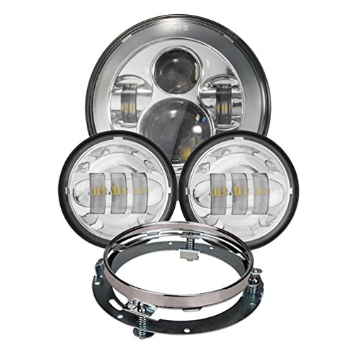 Chrome Harley Daymaker 7inch Led Headlight With 4.5inch Matching Chrome Passing Lamps For Harley Davidson Motorcycles