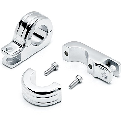 Krator Chrome 1-14 Engine Guard Tube Bar Footpeg Clamps For Harley Davidson Road King Classic FLHRC 2007-2013