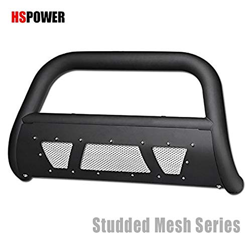 HS Power Matte Black Studded Laser Mesh Bull Bar 2009-2010 for Dodge Ram 1500 Models  2011-2018 Ram 1500 HD Steel Brush Push Front Bumper Grill Guard